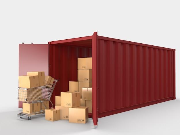 Contêineres de transporte de contêineres com caixas de papelão marrom, transporte de entrega de pacotes no negócio de comércio eletrônico on-line.