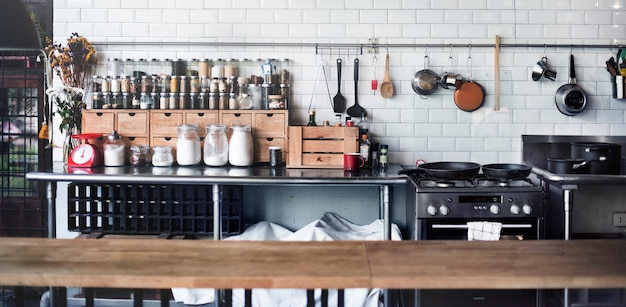 Contemporânea cozinha aparelho cozinhando especiarias conceito