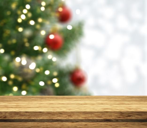 Conto de madeira 3d, olhando para uma árvore de natal desfocada