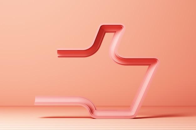 Contorno linear rosa polegar para cima do ícone com rosa renderização em 3d