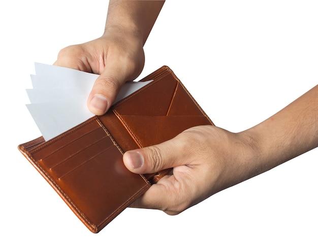 Contou a carteira de dinheiro isolada no fundo branco
