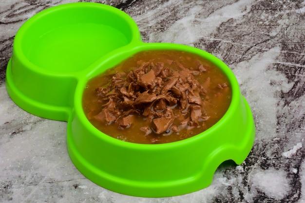 Contra o pano de fundo de mármore está um prato de plástico verde cheio de comida molhada de gato ou cachorro e água. foto de close-up.
