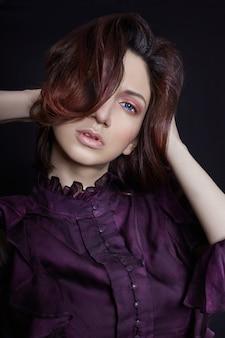 Contraste, moda, armênio, mulher, retrato, grande, azul