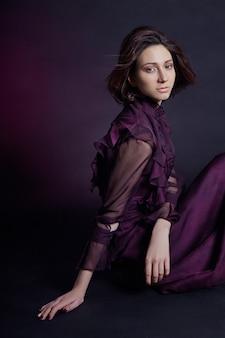 Contraste, moda, armênio, retrato mulher, em, vestido