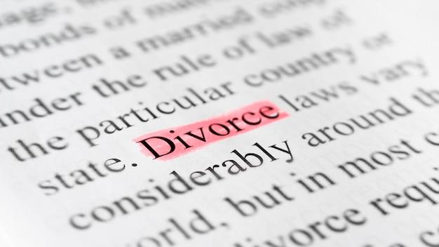 Contrato de divórcio em close-up