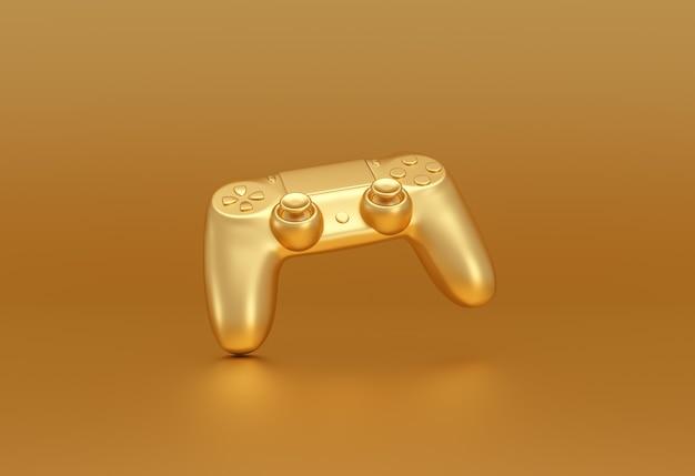 Controlador de videogame dourado sobre fundo dourado. conceito de fluxo de jogos. renderização 3d.