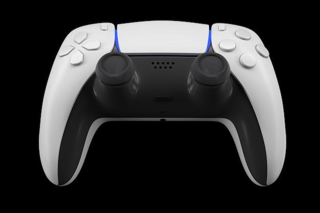 Controlador de videogame realista isolado em preto com traçado de recorte