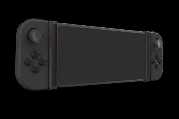 Controladores de videogame realistas anexados ao celular isolados no preto