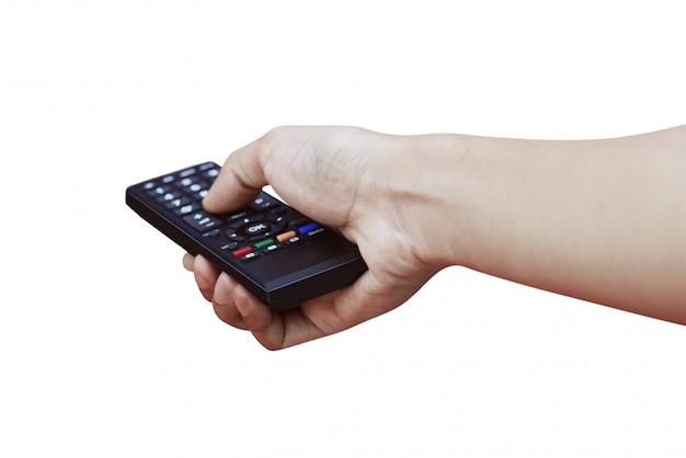 Controle remoto na mão