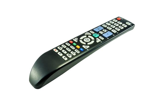 Controle remoto preto de televisão em fundo branco isolado. arquivo contém com traçado de recorte tão fácil de trabalhar.