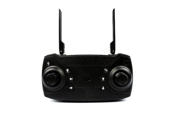 Controle remoto quadricóptero preto em um fundo branco