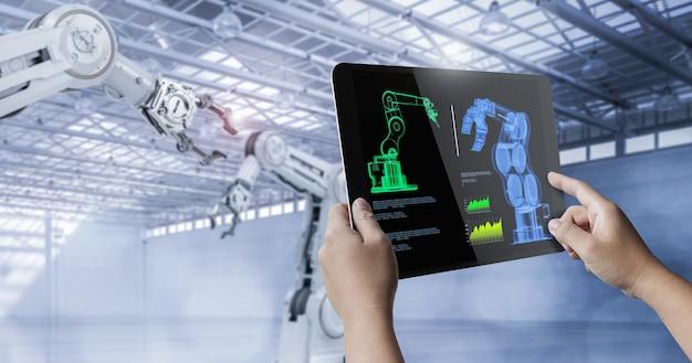 Controle técnico com mão humana segura tablet digital de renderização 3d com display digital
