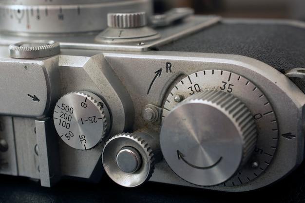 Controles de câmera de filme vintage