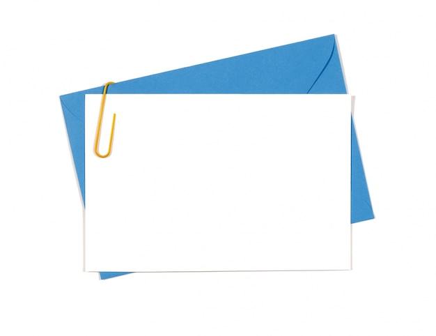 Convida o cartão com envelope azul