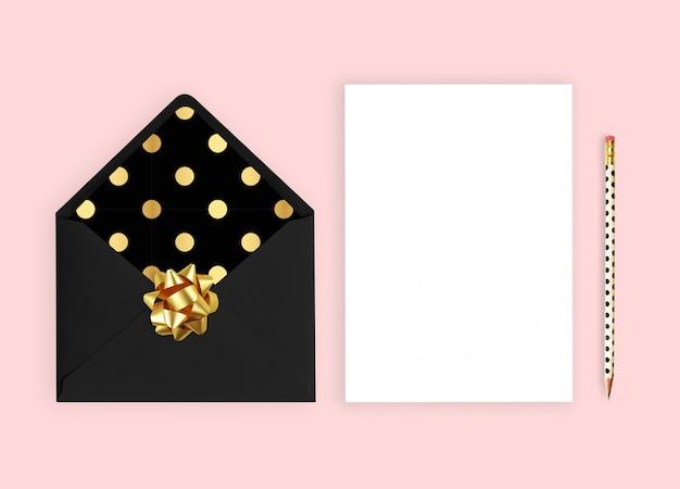 Convite de casamento com cartão.