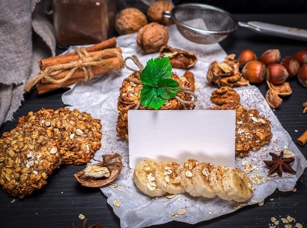 Cookies de flocos de aveia e nozes