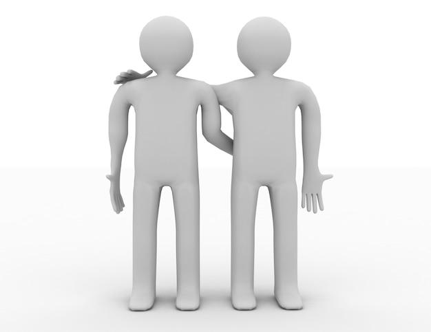 Cooperação, parceiro, equipe. ilustração do conceito 3d