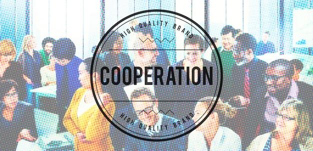 Cooperation unity together conceito de parceria de trabalho em equipe