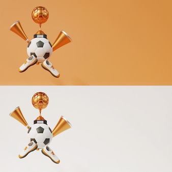 Copa do troféu de futebol 3d bronze com futebol, chifres de vuvuzela, sapatos e espaço de cópia em duas opções de cores.