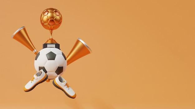 Copa do troféu de futebol 3d bronze com futebol, chifres de vuvuzela, sapatos e espaço de cópia no fundo marrom.
