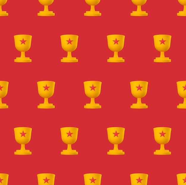 Copa do troféu laranja com estrela vermelha no padrão pastel sem emenda.