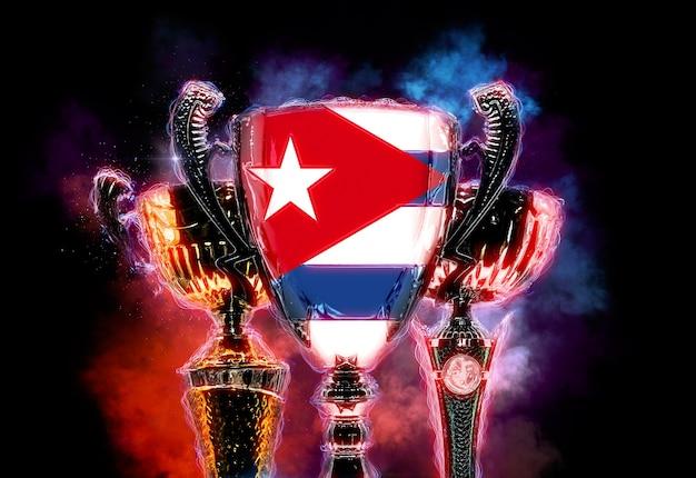 Copa do troféu texturizada com bandeira de cuba. ilustração digital 2d.