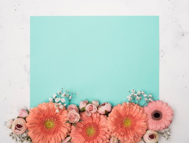 Cópia azul espaço primavera flores