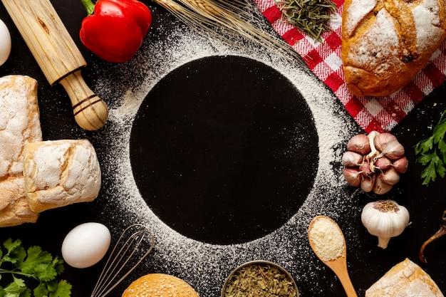 Copie o círculo do espaço cercado por padarias