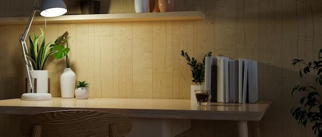 Copie o espaço em uma mesa de trabalho de madeira moderna com decoração na parede de madeira à noite. renderização em 3d