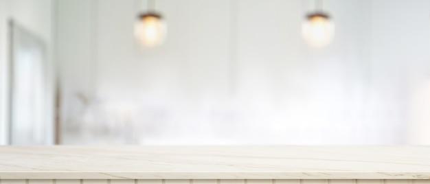 Copie o espaço na mesa de mármore na sala de estar borrada, balcão de mármore vazio