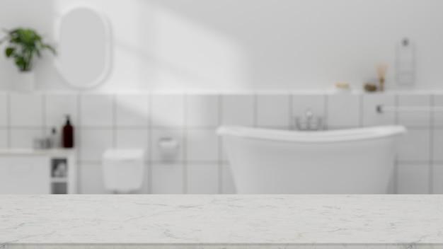 Copie o espaço na mesa do banheiro de mármore sobre a renderização 3d moderna do interior do banheiro branco