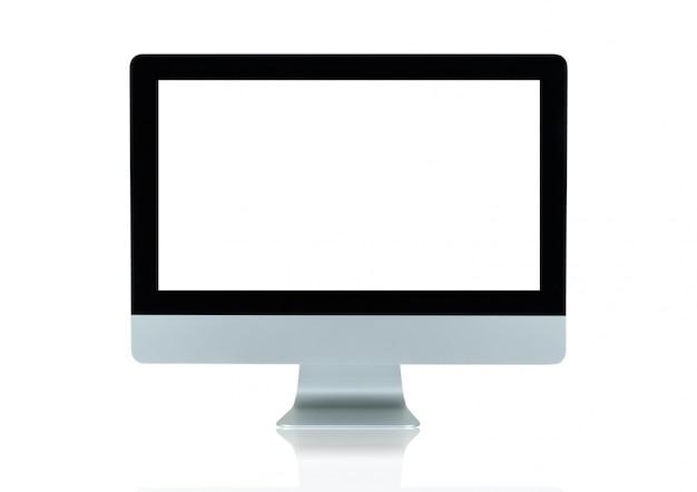 Copie o espaço na propaganda da exposição de tela do monitor do computador isolada no branco