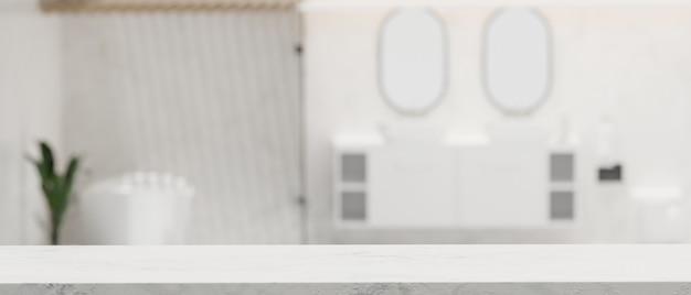 Copie o espaço para exibir seus produtos em uma mesa branca com banheiro moderno e brilhante e embaçado em 3d