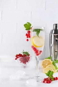 Copo cheio de água fria e refrescante com limão e hortelã no fundo branco