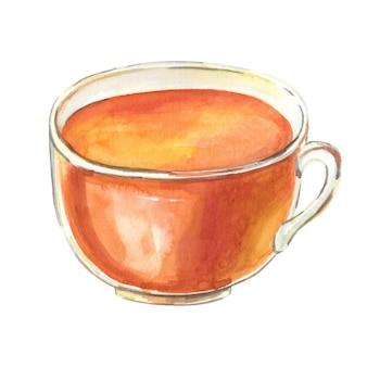 Copo ctea em aquarela. caneca marrom isolada no fundo branco. ilustração em aquarela.