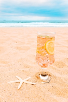 Copo de bebida fresca com fatias de frutas cítricas e estrelas do mar
