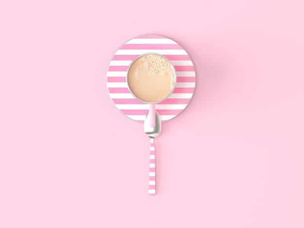 Copo de café leite rosa no fundo rosa pastel