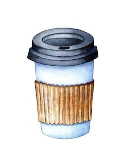 Copo de café para viagem com aquarela um copo de papel ou plástico com tampa para café fast food