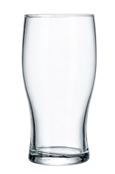 Copo de cerveja vazio. isolado no branco