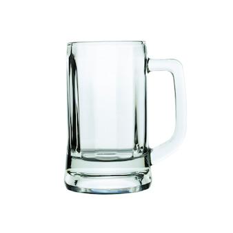 Copo de cerveja vazio isolado no branco