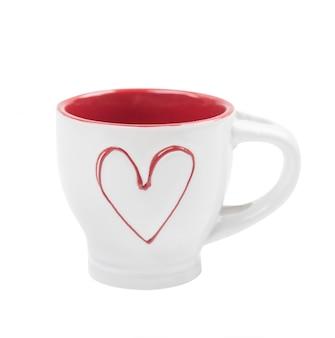 Copo de coração vermelho para café