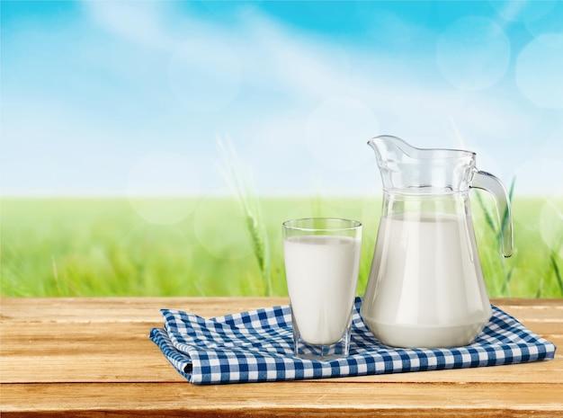 Copo de leite e garrafa no fundo