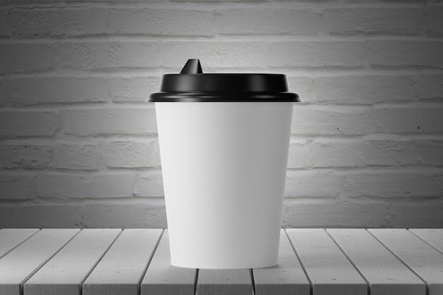 Copo de papel branco em uma mesa de madeira, parede de tijolos no fundo. renderização 3d.