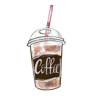 Copo de plástico com café. café para viagem.