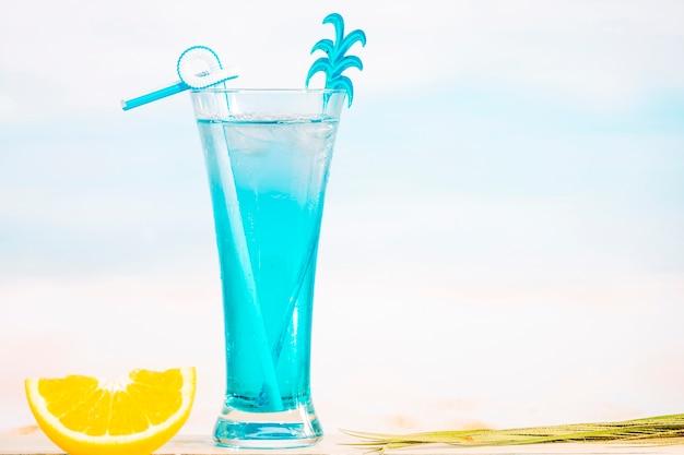 Copo de refrescante bebida suculenta e laranja fatiada