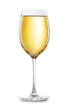 Copo de vinho branco isolado no branco
