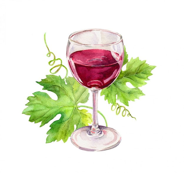 Copo de vinho com folhas de videira