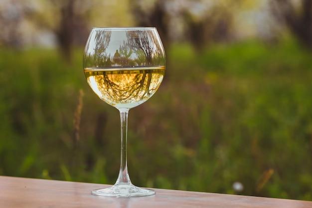 Copo de vinho com vinho branco no pomar de florescimento