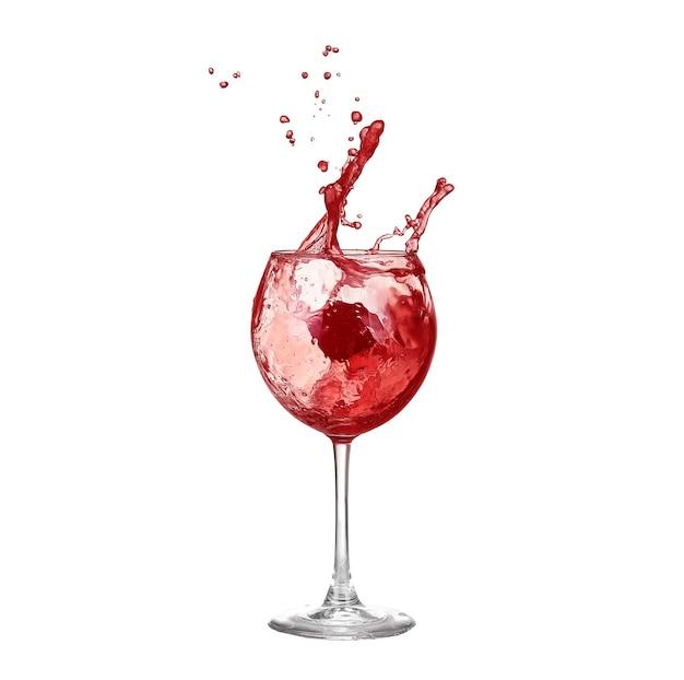 Copo de vinho tinto em um fundo branco