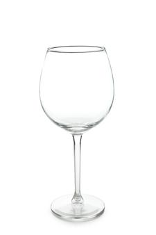 Copo de vinho vazio isolado no fundo branco